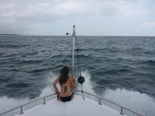 Nathys Lieblingsplatz auf der Yacht (bei Seegang konnte man Duschen)