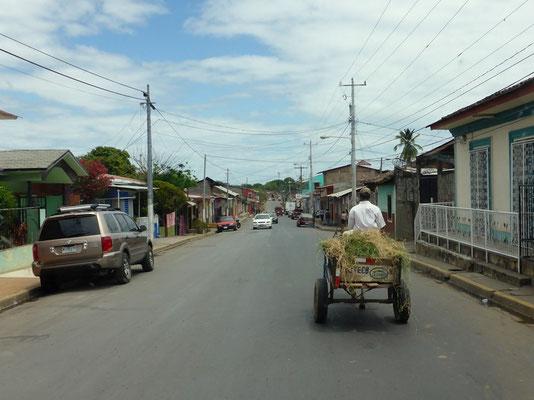 Viele Eselskarren verkehren auf der Strasse