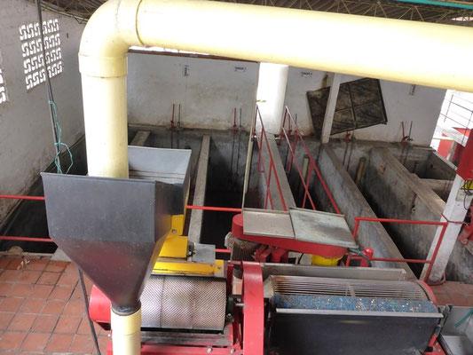 Die Maschinen zum verarbeiten der Kaffeebeeren