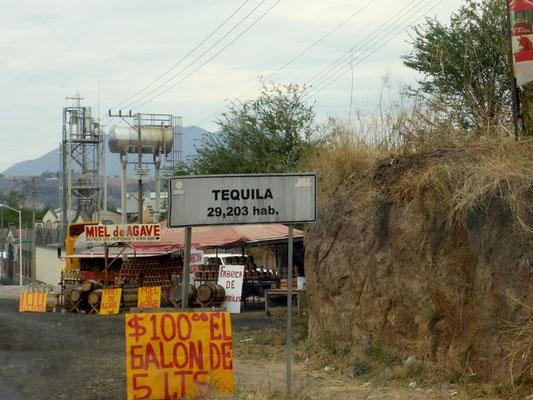 Die Ortseinfahrt nach Tequila