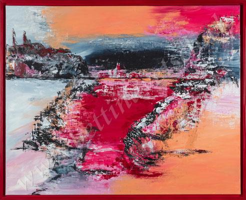 abstrakte Landschaft, gespachtelt, 100x80
