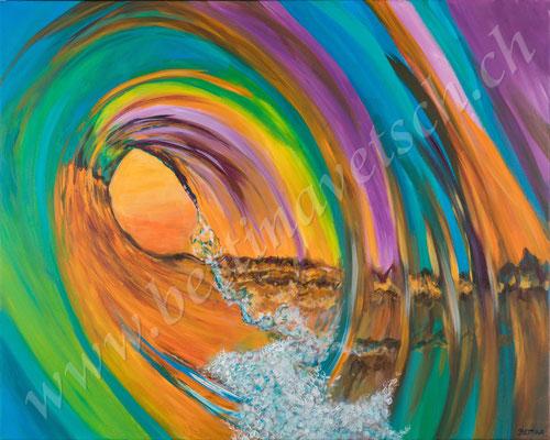 Regenbogenwelle Acryl, 100x80