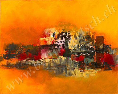 Beduinenstadt, Acryl Collage, 100x80, gerahmt