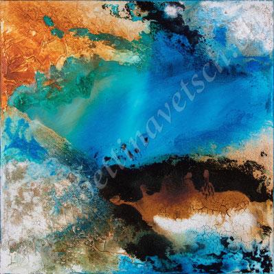 Opal, Naturpasten & Acryl, 50x50