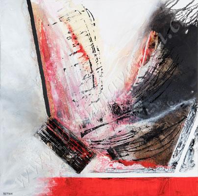 Erstrebenswert, Acryl Collage, 100x100, verkauft