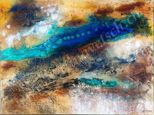 New Planet 2, Naturpasten & Acryl, 70x50