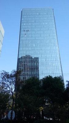 【外墙清洗】 日本でもそうだけど大変な仕事だなあ。 上海は今日は晴れ。