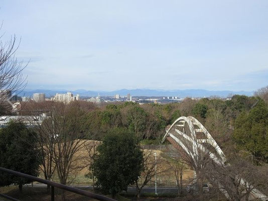 丘の上広場から 太陽は出ていましたが、残念ながら富士山は見えませんでした。画面右の歩道橋は「虹の橋」。 ここからは、北の方角に西武ドームの白い屋根が見えます。