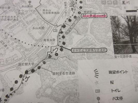 防人見返りの峠と並列古道跡 資料 ©宮田太郎