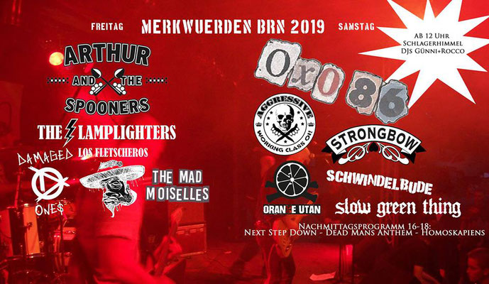 Bunte Republik Neustadt Merkwürden-Bühne Recording Arthur And The Spooners, The Lamplighters, Damaged Ones, Los Fletscheros, The Mad Moiselles, Oxo 86, Aggressive, Strongbow, Schwindelbude, Slow Green Thing, Orange Utan, Next Step Down, Dead Mans Anthem