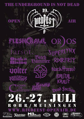 Riedfest Open Air 2019 Livestream mit Barmy Rote, BitchHammer, Black Mood, Bronco, Brutal Kraut, Crown Of Creation, Dead Faction, Farsot, Fleshcrawl, Goddys, Odroerir, Ordos, Osaka Rising, Superlynx, Volter