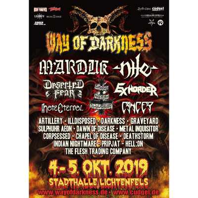 Way Of Darkness 2019 Livestream Illdisposed, Deserted Fear, Artillery, Darkness, Graveyard, Exhorder, Cancer, Metal Inquisitor, Pripjat, Deathstorm, Dawn Of Disease, Sulphur Aeon, Corpsessed, Chapel Of Disease, Hell:On, The Flesh Trading Company, Indian