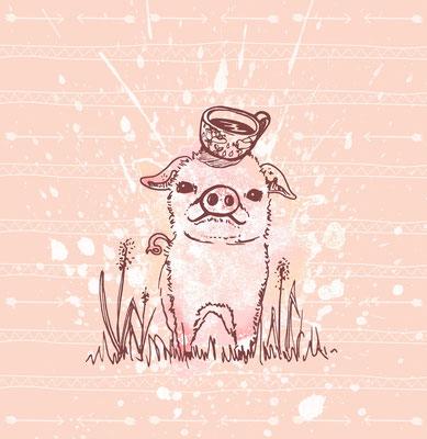 Tag 54: Teacup Schweinchen. Illustrationen aus Hamburg!