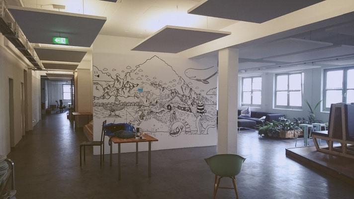 Wandgemälde bei Jimdo, (c) Felice Vagabonde, Illustration aus Hamburg, 2015