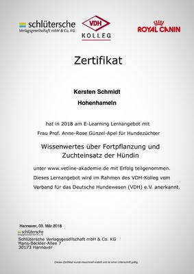 Zertifikat der vetline Akademie vom 03.03.2018: Wissenswertes über Fortpflanzung und Zuchteinsatz der Hündin