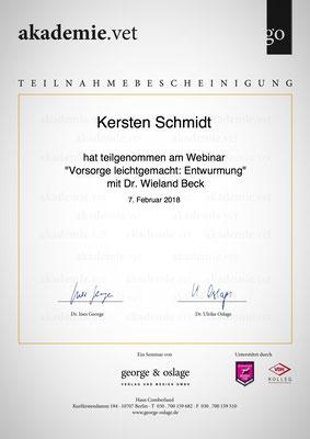 Zertifikat der akademie.vet vom 07.02.2018: Vorsorge leicht gemacht - Entwurmung
