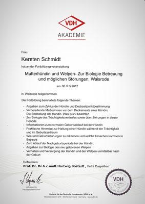 Zertifikat der VDH Akademie vom 06. und 07.05.2018: Mutterhündin und Welpen: Zur Biologie, Betreuung und möglichen Störungen