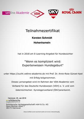 Zertifikat der vetline Akademie vom 25.01.2018: Wenn es kompliziert wird - Expertenwissen Hundegeburt
