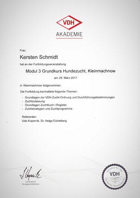 Zertifikat der VDH Akademie vom 26.03.2018: Grundkurs Hundezucht