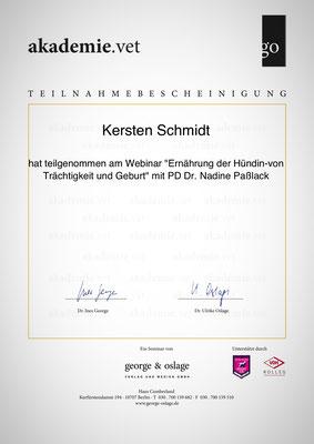 Zertifikat der akademie.vet vom 05.06.2018: Ernährung der Hündin - von Trächtigkeit und Geburt
