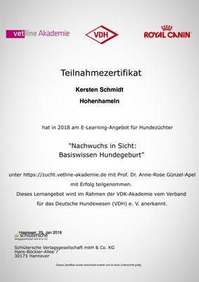 Zertifikat der vetline Akademie vom 25.01.2018: Nachwuchs in Sicht - Basiswissen Hundegeburt