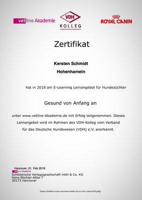 Zertifikat der vetline Akademie vom 01.02.2018: Gesund von Anfang an