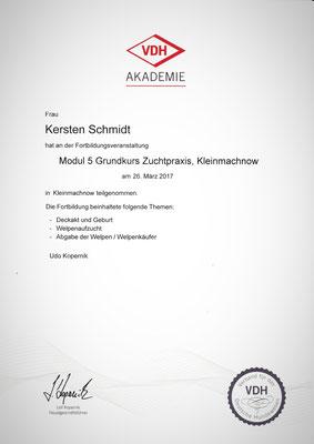 Zertifikat der VDH Akademie vom 26.03.2018: Grundkurs Zuchtpraxis