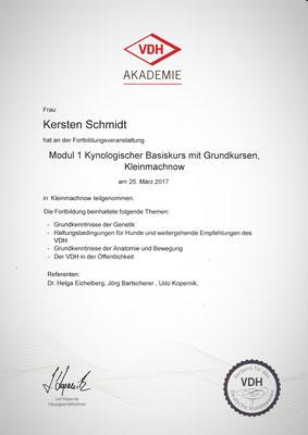 Zertifikat der VDH Akademie vom 25.03.2018: Kynologischer Basiskurs