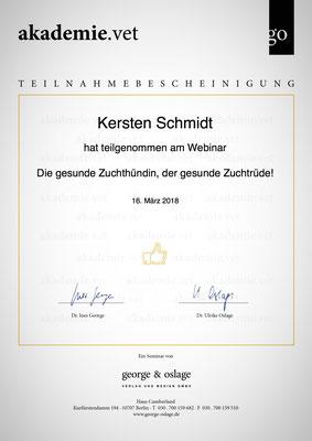 Zertifikat der akademie.vet vom 16.03.2018: Die gesunde Zuchthündin, der gesunde Zuchtrüde