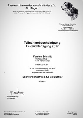 Zertifikat des RZV vom 22.10.2017: Erstzüchtertagung