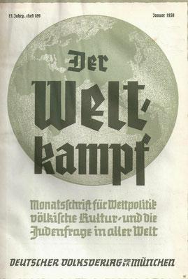 """Heinrich Damisch: """"Die Verjudung des österreichischen Musiklebens"""", in: """"Der Weltkampf"""", 1938, S. 255-261"""