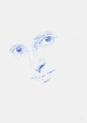 """""""Maria Luiko, Memorial 06"""", 2017, Zeichnung auf Büttenpapier, 42 x 29,5cm, Blauer Farbstift; ©: Konstanze Sailer"""