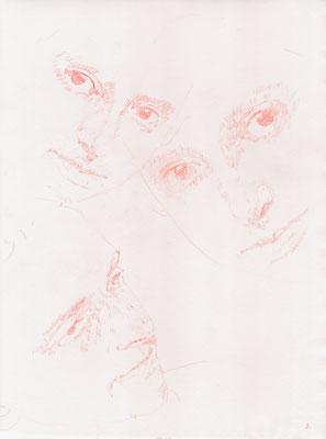 """Maria Luiko, Memorial 03"", 2017, Zeichnung auf Büttenpapier, 42 x 29,5cm, Roter Farbstift; ©: Konstanze Sailer"