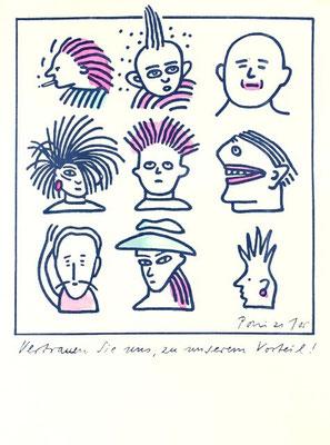 Neujahrskarte 1985 / Tusche/Aquarell