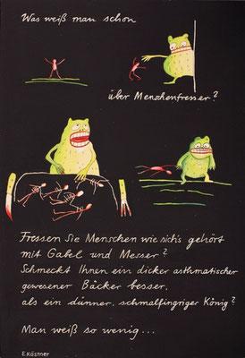 """""""Was weiß man schon über Menschenfresser"""" zu Erich Kästner  / Acryl 1982"""