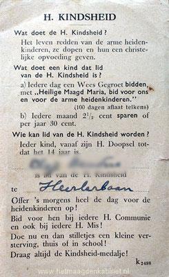 Achterzijde prentje Heilige kindsheid www.hetmaagdenkabinet.nl