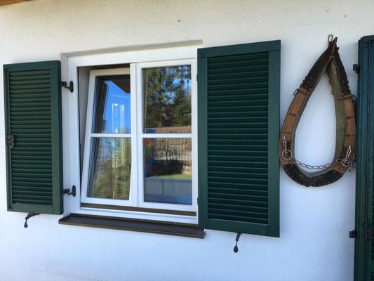 Farbliche Neugestaltung von Sprossenfenstern, ursprünglich Holz, natur