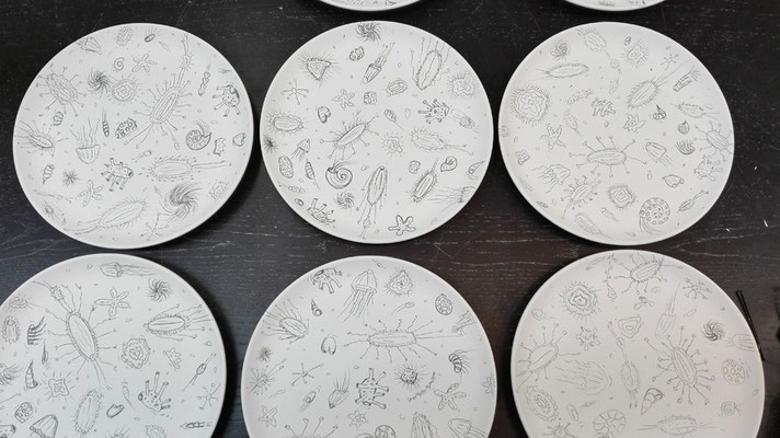 "Serie ""aequoreus"" 20 Teller / Serie ""aequoreus"" 20 plates © Juliane Leitner 2016"
