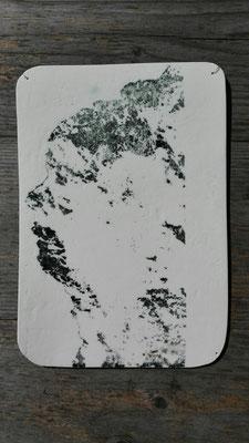 Riese Erla (Traunstein); Papierporzellan Limoges; gebr. bei 1260°C; Siebdruck auf Porzellan; Farbkörper: Engobe schwarz; Glasur: transparent; Schmuckdraht Ø 0,38mm; © Juliane Leitner 2017