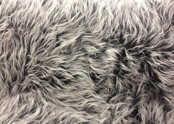 Zottelplüsch grau/ silber (Langhaar- 5cm)