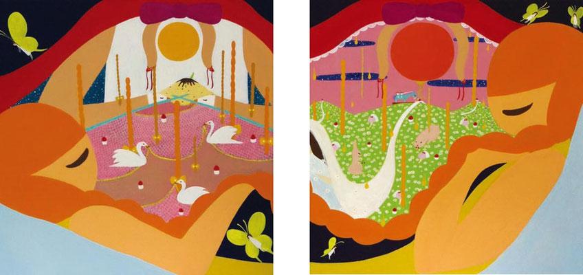 スカートの夢 15-06(2点組の組作品) キャンバスにアクリル 各53.0×53.0cm 2015