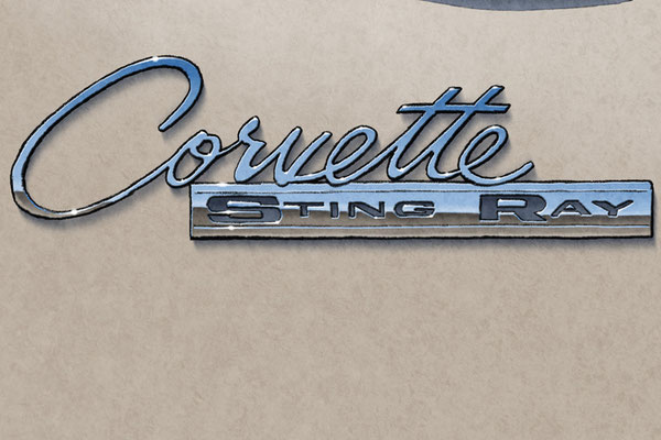 The Corvette Sting Ray and 396 Turbo Jet decorative lettering add authenticity to the drawing that will please owners of this car