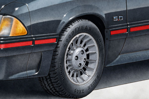 The 1987-1990 turbine wheels are well drawn. The drawn portrait is also available with the Pony wheels