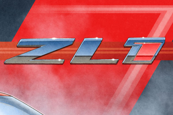 The background ZL1 emblem is drawn with a high level of details