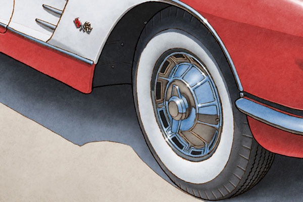 Whitewall tire and tread are one of the main features of the 1959-1960 model year Corvette drawing