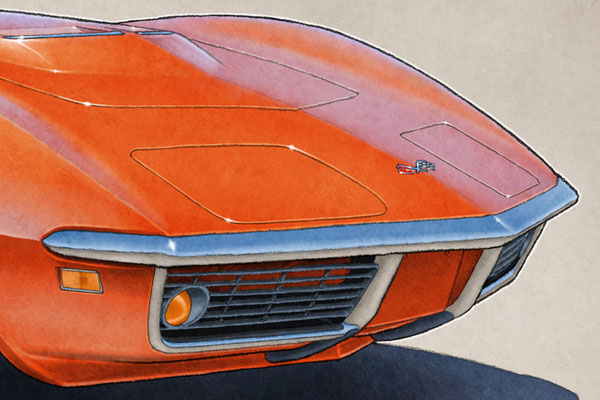 """The 1969 model year Corvette drawing shows a detailed front end and blue sky reflection on the bodywork on the 16""""X20"""""""