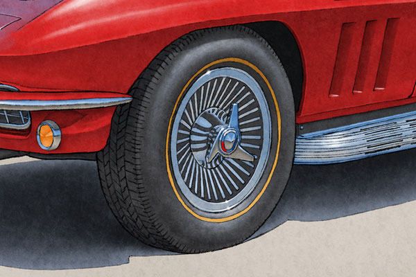 2 tire colored lines and treads are one of the main features of the 1965 model year Corvette drawing