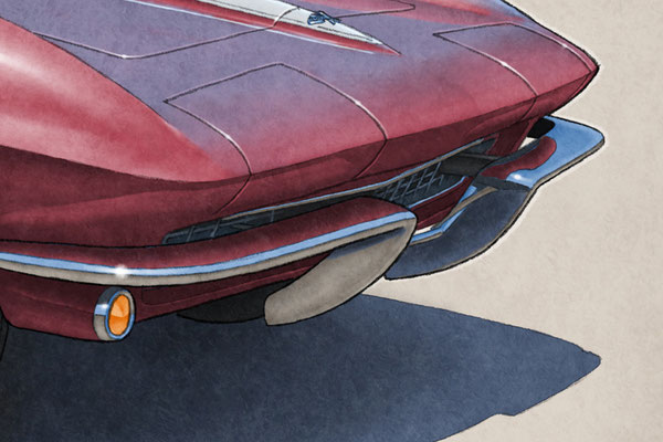 """The 1965 model year Corvette drawing shows a detailed front end and blue sky reflection on the bodywork on the 16""""X20"""" printed drawing"""