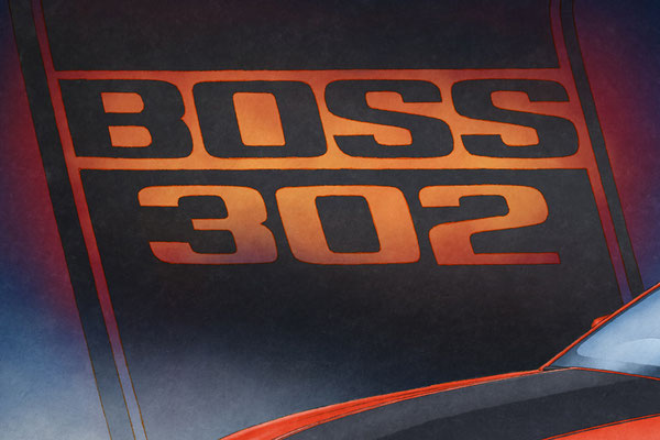 Hand drawn, the background BOSS 302 lettering is available only on personalized version of the print