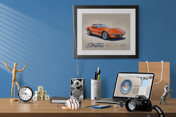 Here is the 1969 Corvette drawing in a nice decorative context of a home office